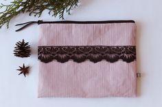 elegante Clutch altrosa mit schwarzer Spitze - von kleidzeit C03 - elegante Clutch, A5 Tasche, Weihnachtsgeschenk, Geschenke für sie von kleidzeit auf Etsy