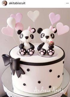 Panda Fondant Cakes, Cupcake Cakes, Bolo Panda, Panda Panda, Panda Birthday Cake, Panda Cakes, Animal Cakes, Valentine Cake, Just Cakes