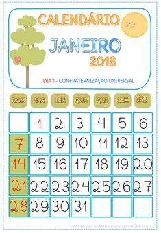 Calendário JANEIRO 2018 - A Arte de Ensinar e Aprender