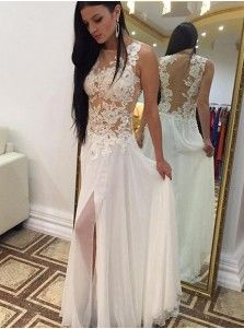 Sexy A-line Crew Floor-Length Chiffon Sleeveless Beaded Appliques White Prom Dress