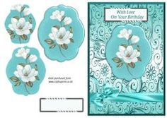 Turquoise Magnolias Pyramid Card Fronts