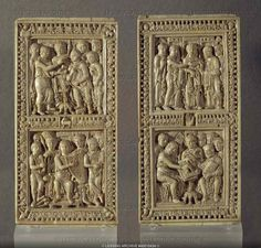 Caroligian carved ivory ,bookcovers for the Psalter of Dagulft,made for Pope Adrian(died in 795)
