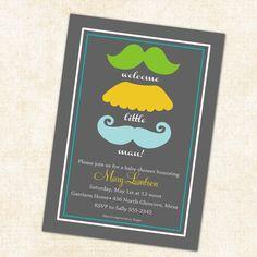 Baby boy shower invitation mustaches little man