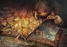 「古書店の午後十時」/「ポ~ン(出水ぽすか)」のイラスト [pixiv]