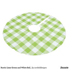 Rustic Lime Green and White Buffalo Check Plaid Brushed Polyester Tree Skirt