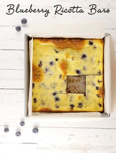 Soft, light, not overly sweet – these delicious blueberry ricotta bars allow that delightful blueberry flavour to shine through.