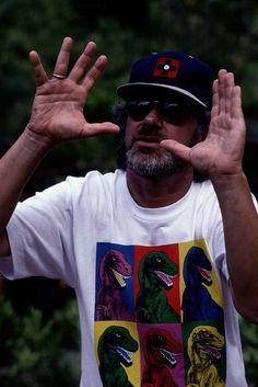 Steven Spielberg on the set of Jurassic Park