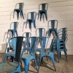 Set of 20 French Vintage Steel Industrial Tolix A Chairs in Original Blue Paint