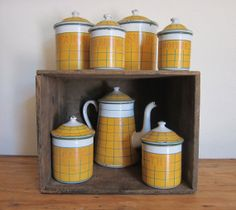 VIntage Deco French enamelware kitchen set of 7 including Coffee Pot on Etsy, $225.00