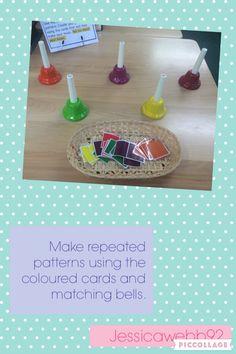 Create a repeating pattern using the coloured cards and then follow the pattern using the bells. EYFS Maths Eyfs, Eyfs Classroom, Eyfs Activities, Nursery Activities, Music Activities, Music Classroom, Classroom Activities, Numeracy, Music Math