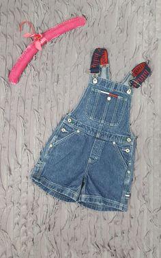 Vintage Tommy Hilfiger Overall Shorts Blue Denim Jeans Toddler Sz S (4E17) #TommyHilfiger #Overalls