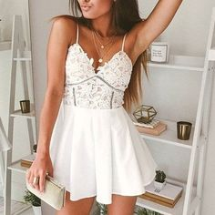 White floral lace bustier romper Super cute romper! Size small. Not lf. LF Pants Jumpsuits & Rompers