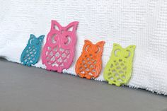 Bright Owl family Pink Teal Orange Lime Green Upcycled Vintage Metal Owl trivets... Teenage bedroom Nursery Playroom Decor. $22.00, via Etsy.