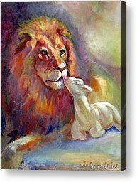 African Lion Paintings Canvas Prints - Lion of Judah Lamb of God Canvas Print by Judy Downs