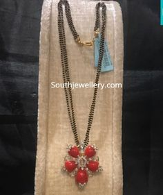 Long Nallapusalu Chain With Coral and Diamond Pendant photo Gold Mangalsutra Designs, Gold Jewellery Design, Gold Pendent, Diamond Pendant, Diamond Stud, Pendant Set, Bridal Jewelry, Beaded Jewelry, Pearl Jewelry