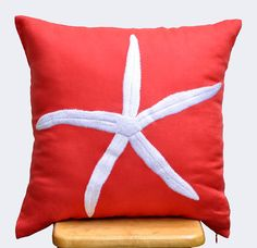 Starfish Pillow Cover, White Starfish Red Orange Linen, Decorative Throw Pillow Cover, Beach Pillow, Couch Pillow,  Pillow 18 x 18