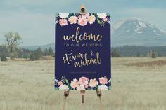 DIY Printable Rustic Watercolour Floral Wedding Welcome Sign | Calligraphy | Rustic Vintage | Custom Designs Available | Navy & Gold