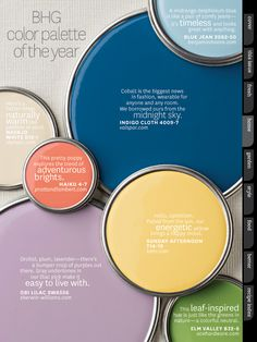 ideas for color combos -- Better Homes & Garden Mag color palette of the year, issue Colour Schemes, Color Combos, Yellow Painting, Yellow Paint Colors, Colorful Garden, Better Homes And Gardens, Kitchen Colors, Color Pallets, My New Room