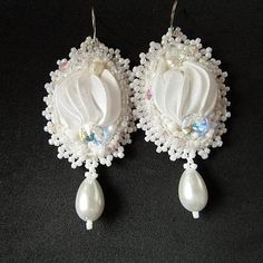 White Shibori Earrings Silk Ribbon Swarovski Earrings Dangle