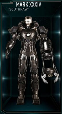 "The Mark 34 (XXXIV), also known as ""Southpaw"", is a Disaster Rescue Suit Prototype, and was one of the many newly built suits created by Tony Stark..."