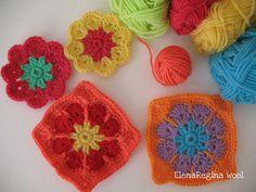 Piastrellina fiore africano 12         di Elena Visentin            Il fiore africano è una piastrella da realizzare in tre colori . occo...