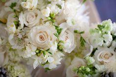 Emily's beautiful bouquet. Hydrangea, roses, freesia, scabiosa