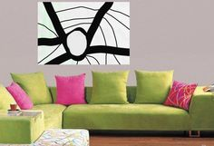 Black and White painting Large Abstract  Acrylic by JerryTitanArt