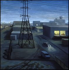 """Tony Peters """"Night Drop"""" 36 x 36 inches, oil on canvas."""