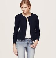 """Linen Cotton Zip Jacket - We love the all-terrain cool of this zip style, in a slubbed linen cotton blend. Crew neck. 3/4 sleeves. Zip front. Zip patch pockets. Slit cuffs. Lined. 21"""" long."""