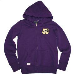 NWT Ralph Lauren Girls Cotton Blend Full Zip Crested Purple Hoodie L 12 14…