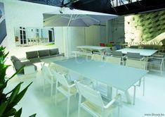 Gescova Azur Versace Table de repas jardin Rectangulaire Aluminium Blanc Rallonge plateau en verre trempé dépoli Gris clair 260