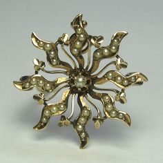 *SOLD* Laura's lifeintheknife on Ruby Lane: Antique Victorian 10K Gold Seed Pearl Sunburst Brooch Pendant