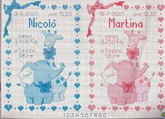 E' nata Martina è nato Nicolò con elefante e giraffa Martina was born Nicolò was born with elephant and giraffe - magiedifilo.it cross stitch crochet free patterns creative hobbies Baby Registry, Free Gifts, Martini, Free Crochet, Giraffe, Needlework, Free Pattern, Weaving, Cross Stitch