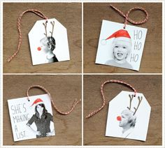 """Photo gift tags - use favorite pictures of the recipient from the last several years as """"To"""" tags and everyone already know who it's """"from"""""""