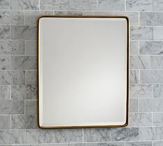 Vintage Fixed Mirror, Regular, Bronze pottery barn 23 x 35 Classic Cabinets, Yellow Bathrooms, Beveled Glass, Beveled Mirror, Tripod Lamp, Small Bathroom, Bathroom Ideas, Master Bathroom, Bathroom Gallery