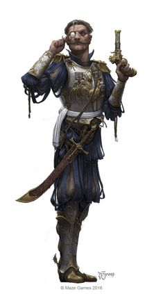 m Cleric LN Med Armor Pistol Sword Monocle urban City lg Warhammer Fantasy Roleplay, Fantasy Rpg, Medieval Fantasy, Fantasy Artwork, Dungeons And Dragons Characters, Dnd Characters, Fantasy Characters, Fantasy Character Design, Character Design Inspiration