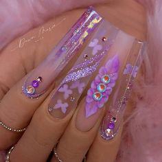 Bling Acrylic Nails, Acrylic Nails Coffin Short, Sparkly Nails, Best Acrylic Nails, Coffin Nails, Transparent Nails, Diamond Nails, Rainbow Nails, Stylish Nails