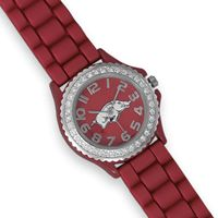 Collegiate Licensed University of Arkansas Ladies' Fashion Watch $49.95  Collegiate licensed silicone and swarovski crystal ladies' fashion watch. This watch has a 20mm red silicone band with a 35mm red face and white Razorback logo. There are clear swarovski crystals around the face. This watch is adjustable from 6.5″ – 8.5″. Fashion watches contain base metal.
