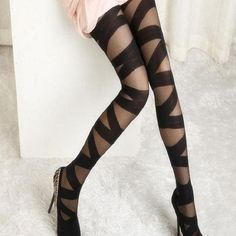 Buy Sexy Women Goth Rocker Mesh Black Cross Band Vintage Stretch Stockings Tights Leggings (Color: Black) at Wish - Shopping Made Fun Ripped Tights, Black Tights, Black Leggings, Black Pantyhose, Nylons, Women's Tights, Leggings Sale, Mesh Leggings, Sheer Tights