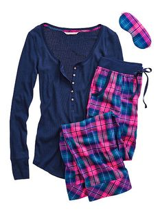 The Dreamer Henley Pajama in Navy and Bright Pink Victoria& Secret or Heather Grey Lurex/ Red Short Large Cute Pjs, Cute Pajamas, Comfy Pajamas, Satin Pyjama Set, Pajama Set, Pijamas Victoria Secrets, Pajamas For Teens, Pijamas Women, Night Suit