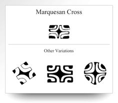 Variations of the Marquesan Cross as depicted on Atelier Leseine Tahitian carved black pearls.