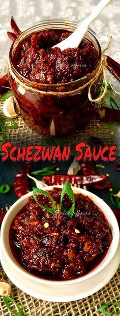 Schezwan Sauce – World Food Chutneys, Indian Food Recipes, Asian Recipes, Szechuan Recipes, Healthy Recipes, Sauce Recipes, Cooking Recipes, Sauce Spaghetti, Fingers Food