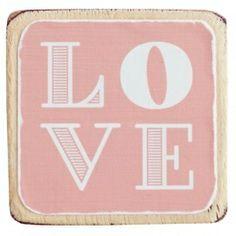 Houten magneet LOVE - zalmroze | SALE! | VILLA VICA
