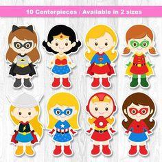 Pieza central de niña superhéroe, superhéroes niña centro de mesa, Super chica de la torta, decoración de la pared de superhéroe
