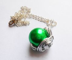 SALE, Green Materia, FF7 Necklace, Final Fantasy, Final Fantasy 7, Wrapped Necklace, BlackFriday, Materia necklace, cyber monday