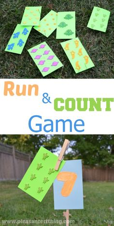 Run and Count is a game we use to practice counting, and get more familiarity with numbers. It very easy: give the kids cards with varying numbers of stickers on them, the kids count the stickers on the cards, and then run and find the stick that corresponds to.