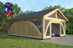 SunShine-Glulam-Timber Frame- 5.5m x 9.0m Garage. Designed by www.logcabins.lv
