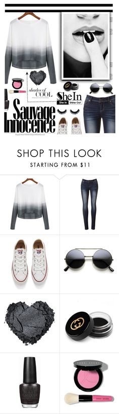 """""""SheIn Sweater"""" by shambala-379 on Polyvore featuring Converse, Gucci, OPI, Bobbi Brown Cosmetics, women's clothing, women's fashion, women, female, woman and misses"""