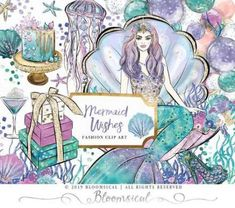 Mermaid Wishes Clip Art Celebration Party Under the Sea Clipart, Planner Stickers, Custom Printed Fabric, Printing On Fabric, Overlays, Fantasy Art Men, Balloon Gift, Flower Nursery, Watercolor Sunflower