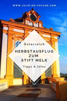 Herbstausflug zum Benediktinerkloster Stift Melk Nur circa eine Autostunde von Wien entfernt befindet sich das Benediktinerkloster Stift Melk. Gemeinsam mit der Wachau gehört es zum UNESCO-Welterbe. Was es hier alles zu erleben und entdecken gibt, habe ich in diesem Blogbeitrag für dich zusammengefasst. #Niederösterreich #Österreich #Ausflugstipp #Ausflugsziel #Familie #herbst #stiftmelk #wachau Alpine Style, Hiking Tours, Ski Slopes, Reisen In Europa, Austria Travel, Holiday Accommodation, Happy Kids, Travel Inspiration, Skiing